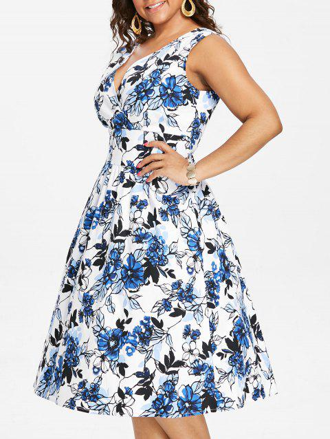 Plus Size Flared Floral Midi Dress - BLUE 2X