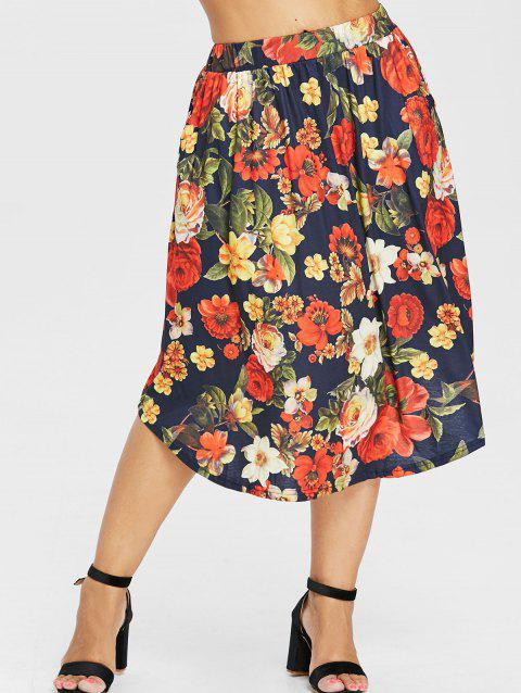 Plus Size Elastic Waist Print Skirt - BLACK 1X