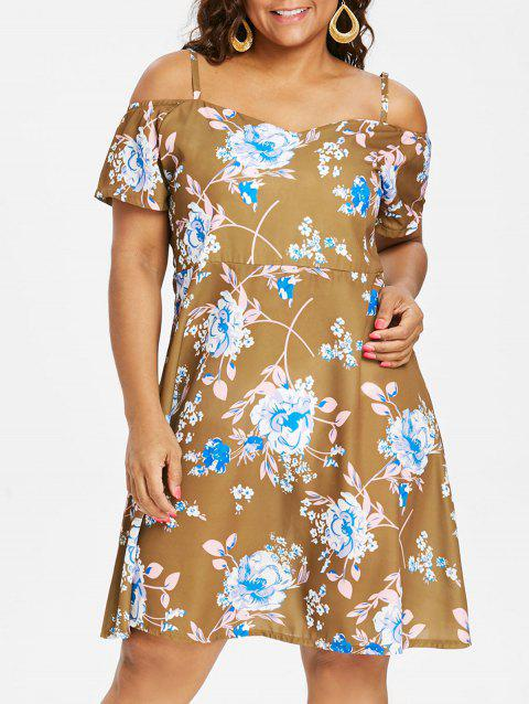 Floral Cold Shoulder Plus Size Dress - COOKIE BROWN 2X