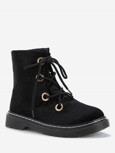 Low Heel Casual Lace Up Ankle Boots - BLACK 37