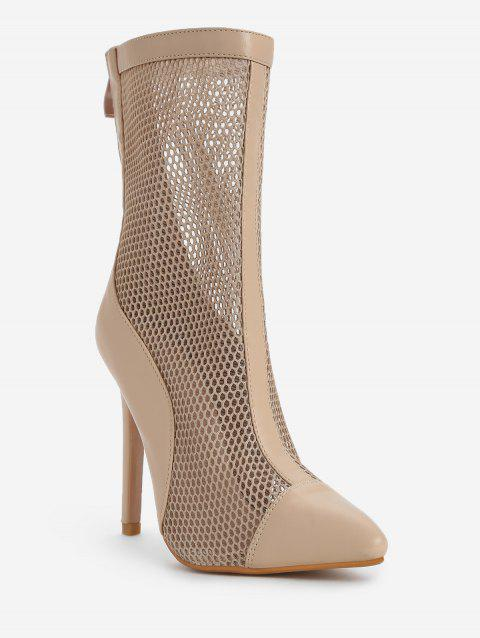 Chic Hollow Out Stiletto Heel Mid Calf Boots - APRICOT 36