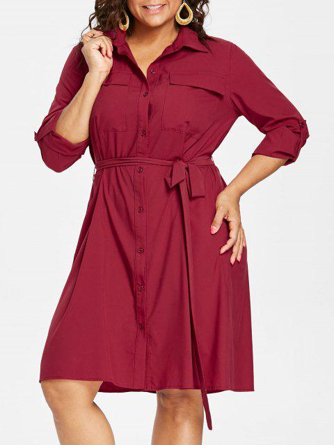 a6a74a39909 55% OFF  2019 Plus Size Knee Length Shirt Dress In RED WINE L ...