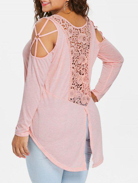 Plus Size Lace Insert High Low Hem T-shirt - LIGHT PINK 3X