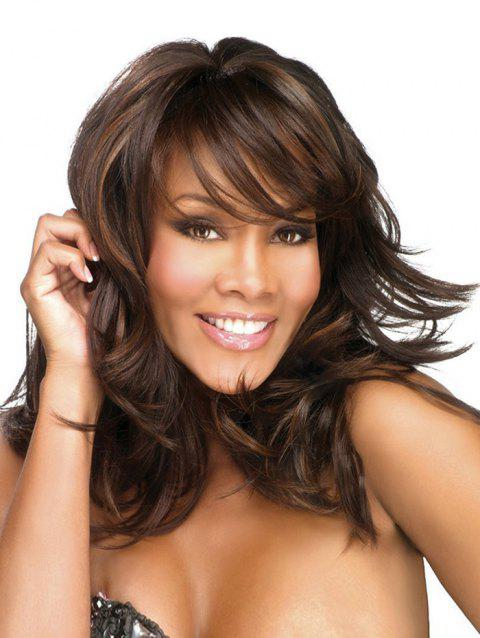 Long Side Bang Colormix Layered Slightly Curly Synthetic Wig - multicolor