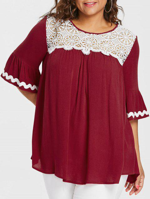 Plus Size Two Tone Flare Sleeve Blouse - RED 1X