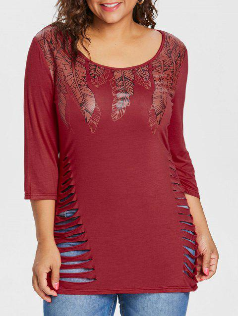 Plus Size Feather Pattern Ripped T-shirt - RED 3X