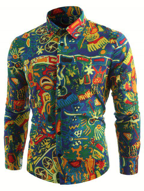 Long Sleeve Retro Abstract Print Shirt - multicolor L