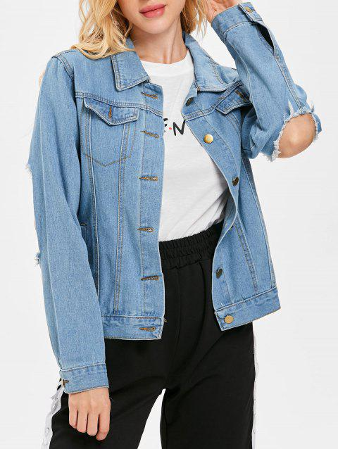 Distressed Jean Jacket - DENIM BLUE 2XL