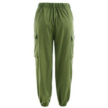 Button Embellished Side Pockets Pants - ARMY GREEN S
