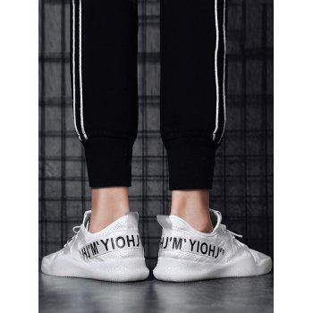 Letter Print Contrast Color Breathable Sneakers - WHITE 42