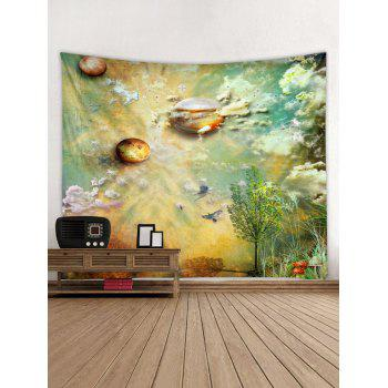 Planets and Cloud Print Tapestry Wall Art - multicolor W59 INCH * L51 INCH