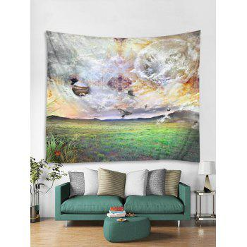 Planets and Grassland Print Tapestry Wall Art - SHAMROCK GREEN W59 INCH * L51 INCH