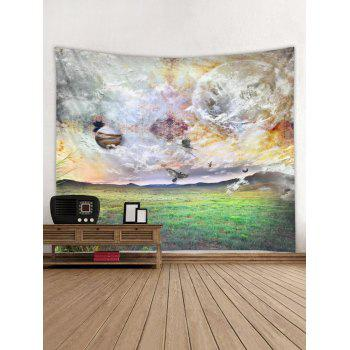 Planets and Grassland Print Tapestry Wall Art - SHAMROCK GREEN W79 INCH * L59 INCH