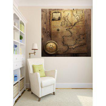 Vintage Map With Compass Pattern Decorative Wall Stickers - multicolor W24 INCH * L24 INCH