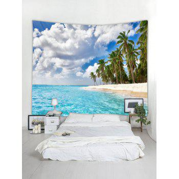 Seaside Palm Forest Print Tapestry Wall Art - DAY SKY BLUE W59 INCH * L51 INCH