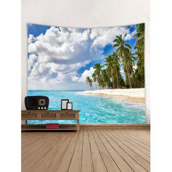 Seaside Palm Forest Print Tapestry Wall Art - DAY SKY BLUE W79 INCH * L59 INCH