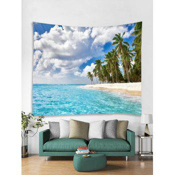 Seaside Palm Forest Print Tapestry Wall Art - DAY SKY BLUE W59 INCH * L59 INCH