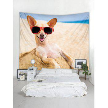 Beach Funny Dog Print Tapestry Art Decoration - multicolor W79 INCH * L59 INCH