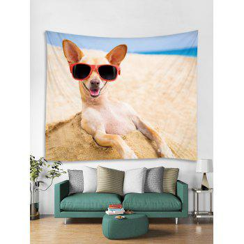 Beach Funny Dog Print Tapestry Art Decoration - multicolor W79 INCH * L71 INCH