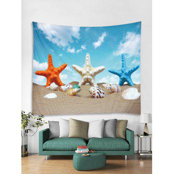 Starfish Conch Beach Tapestry Wall Decoration - multicolor W79 INCH * L71 INCH