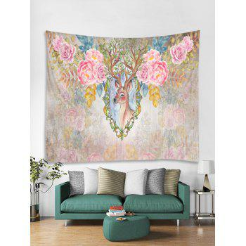 Flowers Deer Print Tapestry Wall Art - multicolor W79 INCH * L59 INCH