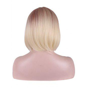 Heat Resistant Synthetic Short Straight Ombre Bob Wig - multicolor