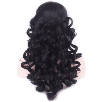 Long Loose Wave Heat Resistant Synthetic Wig - BLACK