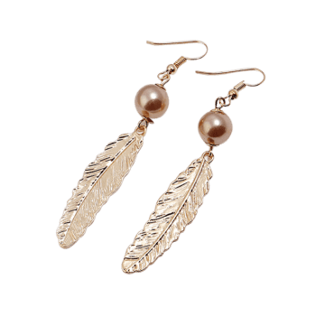 Feathers Design Alloy Earrings - GOLD