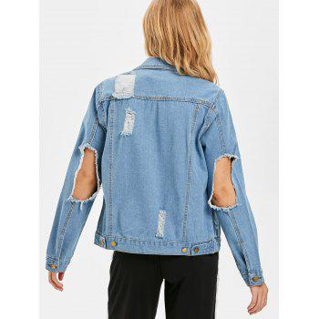 Distressed Jean Jacket - DENIM BLUE L
