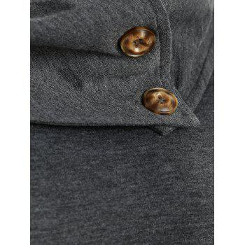 Cowl Neck Button Embellished Sweatshirt - GRAY M