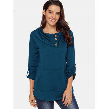 Cowl Neck Button Embellished Sweatshirt - BLUE S
