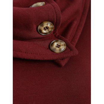 Cowl Neck Button Embellished Sweatshirt - RED WINE S