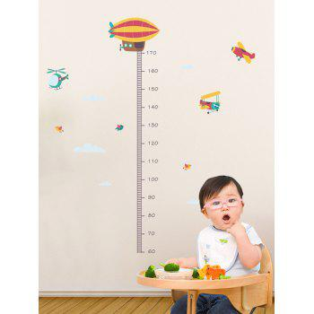 Cartoon Hot Air Balloon Height Measure Wall Stickers - multicolor