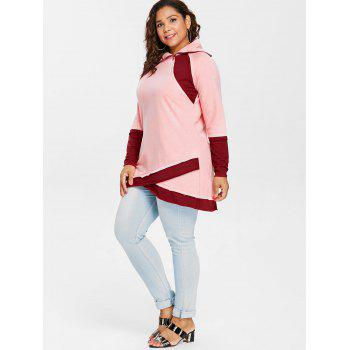 Long Sleeve Color Lump Plus Size Sweatshirt - PINK BUBBLEGUM 3X