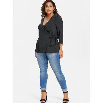 Plus Size Overlap Low Cut Top - BLACK 3X