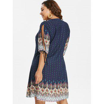 Plus Size Baroque V Neck Dress - NAVY BLUE 1X