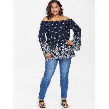 Plus Size Flared Sleeve Swing Blouse - CADETBLUE L