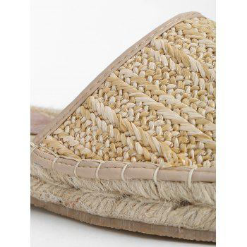 Straw Lace Up Espadrille Fisherman Sandals - APRICOT 38