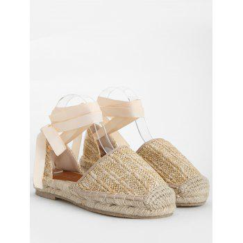 Straw Lace Up Espadrille Fisherman Sandals - APRICOT 36