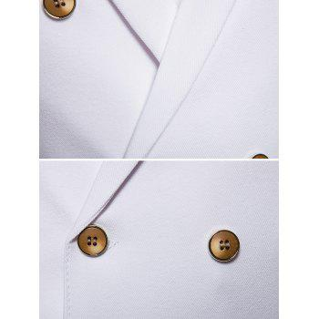 Chest Applique Double Breasted Peak Lapel Collar Waistcoat - WHITE S