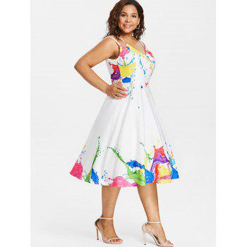 Plus Size Splash Pattern Knee Length Dress - WHITE 2X