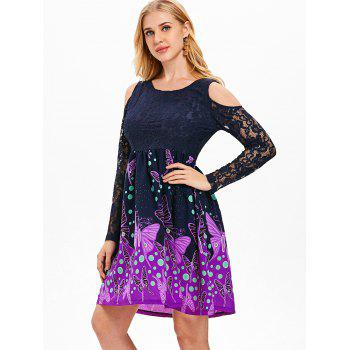 Lace Butterfly Print Knee Length Dress - MIDNIGHT BLUE M