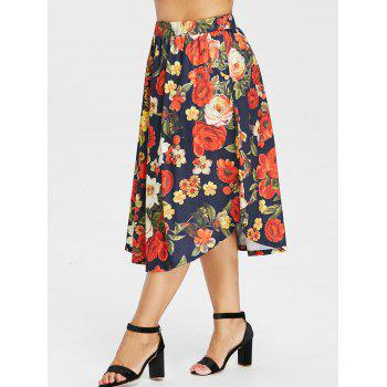 Plus Size Elastic Waist Print Skirt - BLACK 2X