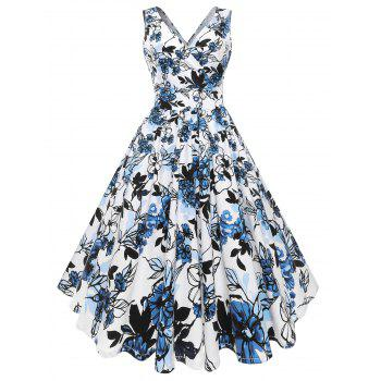 Plus Size Flared Floral Midi Dress - BLUE 3X
