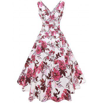 Plus Size Flared Floral Midi Dress - DEEP PINK 4X