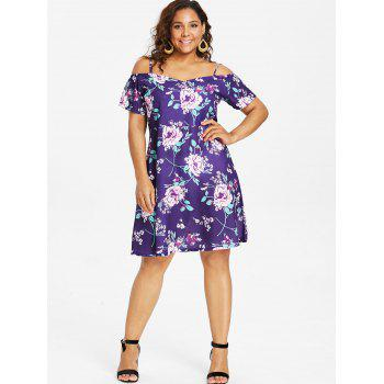 Floral Cold Shoulder Plus Size Dress - PURPLE JAM 1X