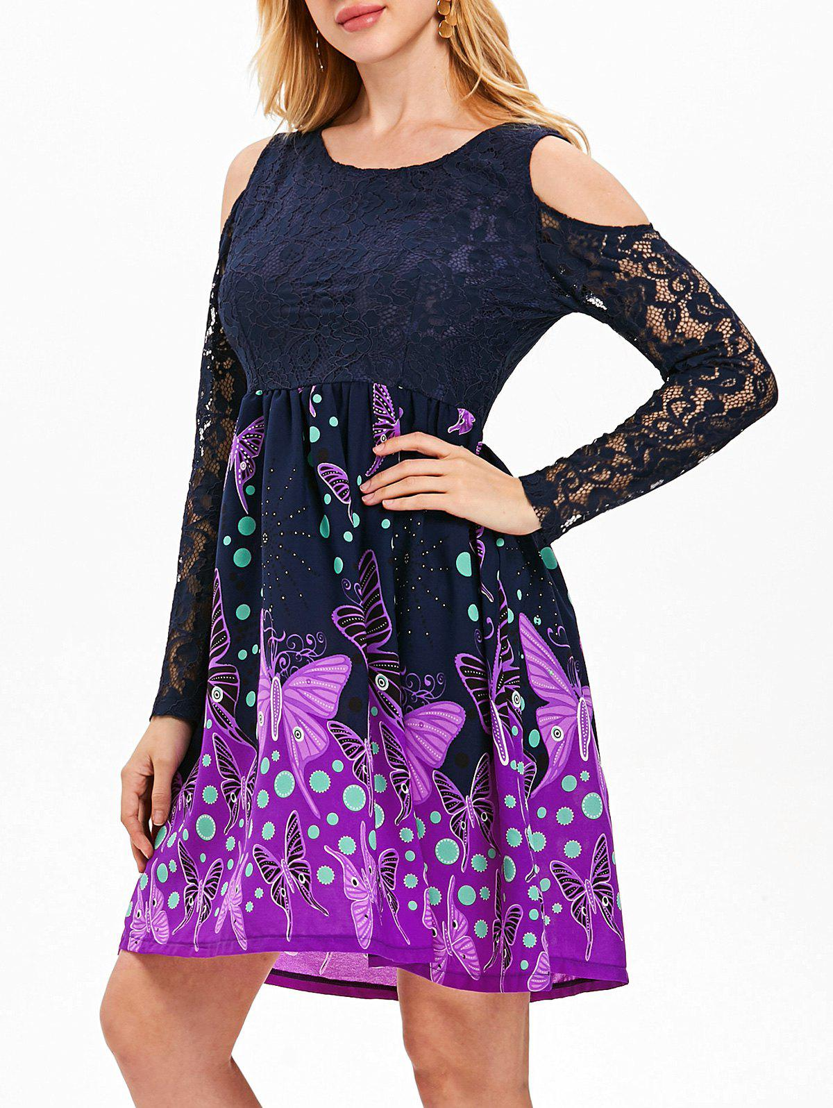 Lace Butterfly Print Knee Length Dress - MIDNIGHT BLUE L