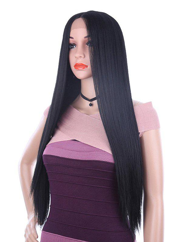 Long Middle Part Straight Synthetic Fiber Lace Front Wig - BLACK
