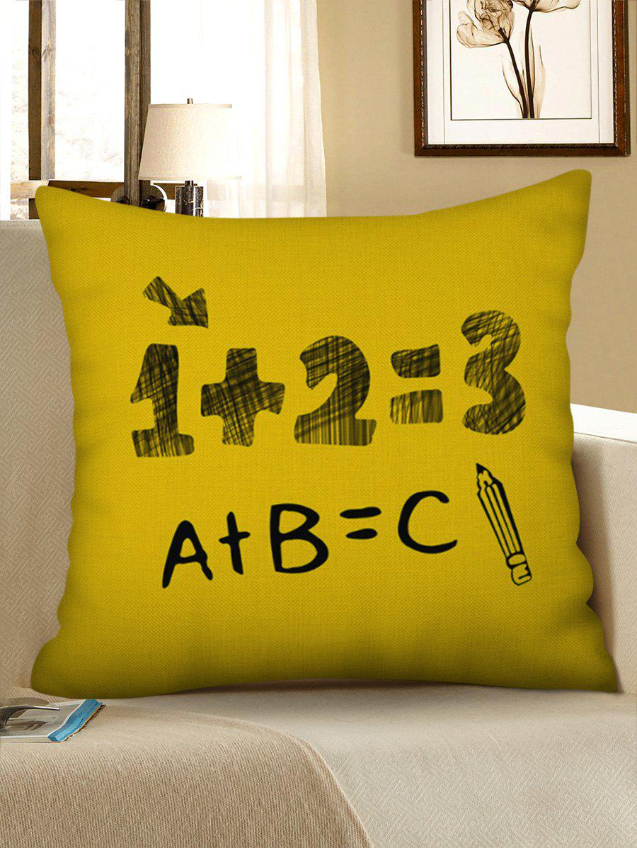 Number Letters Printed Decorative Linen Pillowcase - RUBBER DUCKY YELLOW W17.5 INCH * L17.5 INCH