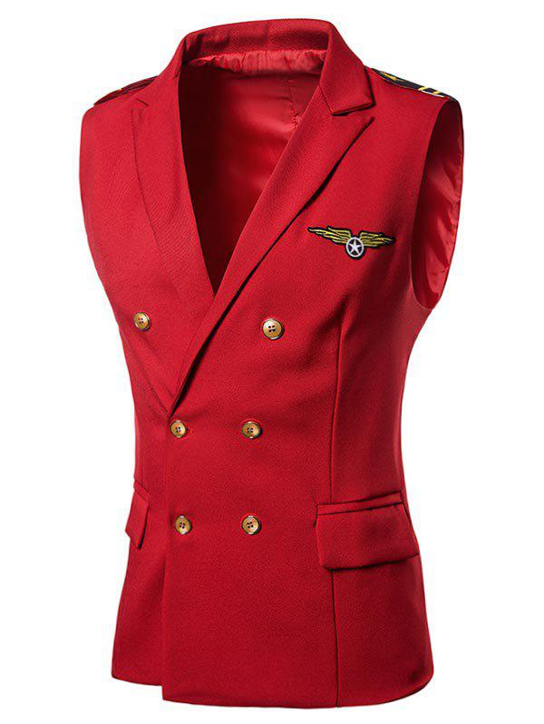 Chest Applique Double Breasted Peak Lapel Collar Waistcoat - RED S